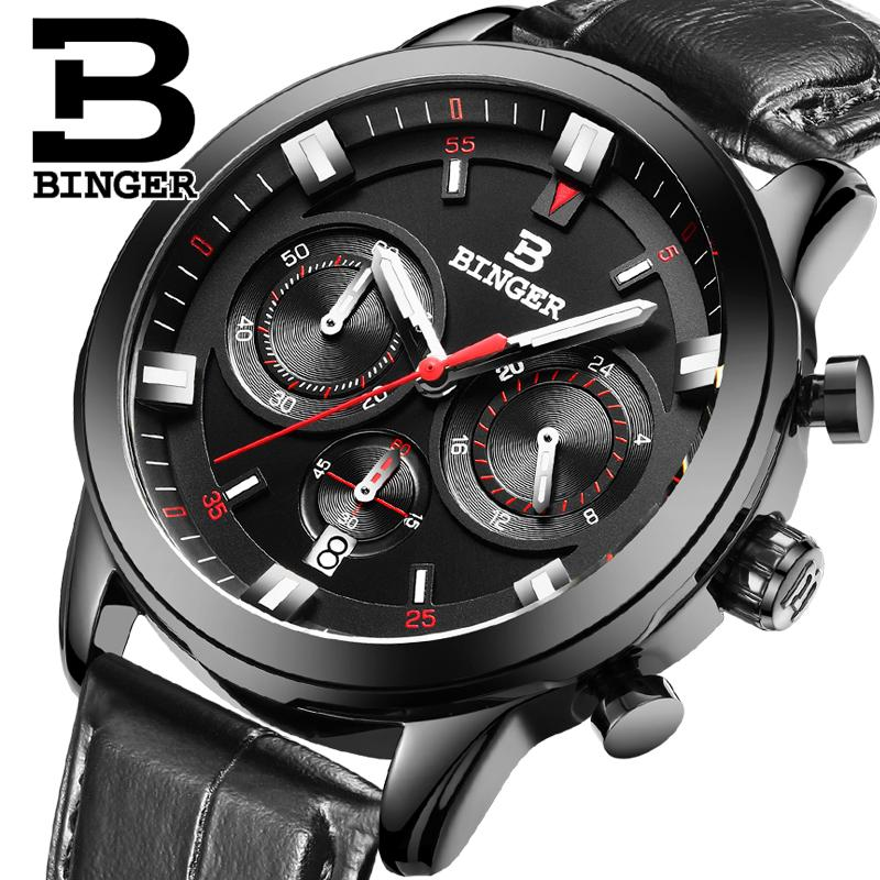 2017 Switzerland luxury mens watch BINGER brand quartz full stainless clock Chronograph Diver glowwatch B9011-7<br>