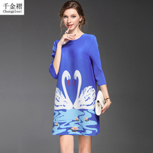 Fashion Printed Swan Women's Dresses  Pleated O-collar 3/4 sleeve loose large size dress Fashion dresses for women Casual