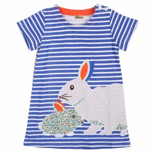 Children Clothes summer Kids Baby Girls Cute 2-7Y short-sleeved striped bunny rabbit princess dress Girls dresses(China)