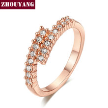 Top Quality ZYR176 Concise Crystal Ring Champagne Rose Gold Color Austrian Crystals Full Sizes Wholesale(China)