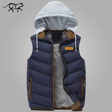 2017 Brand Men Winter Jackets Casual Thick Vests Men Sleeveless Hoodie Coats Male Warm Cotton-Padded Waistcoat Colete Masculino