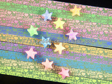 300pcs multicolor fold origami star Paper With glittering shining lucky star origami paper craft material