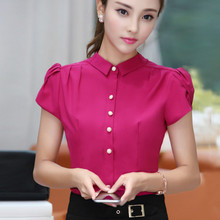 2017 Summer short sleeve office work wear OL Shirts women puff sleeve formal blouses women body stretch shirts tops Students(China)