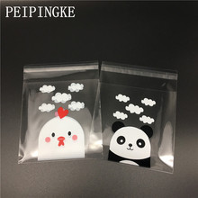 100pcs Panda and chicks Self-adhesive Plastic Cookie Bags Transparent Wedding Gift Candy Bag Christmas Biscuits Packaging(China)