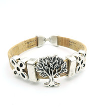 Natural cork made life of tree women vintage Bracelet original lady handmade natural jewelry 17cm BR-138