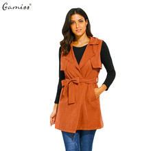 Gamiss Women Autumn Spring Vest Waistcoat Lady Office Casual Wear Long Waistcoat Women Coat Casual Sleeveless Vest Jacket