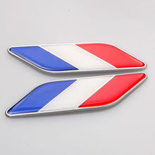3D FR France Flag Stickers Car Fender Side Wing Badge Decal Styling For Golf Polo GTI Ford Peugeot 307 206 208 Clio Renault Kia(China)