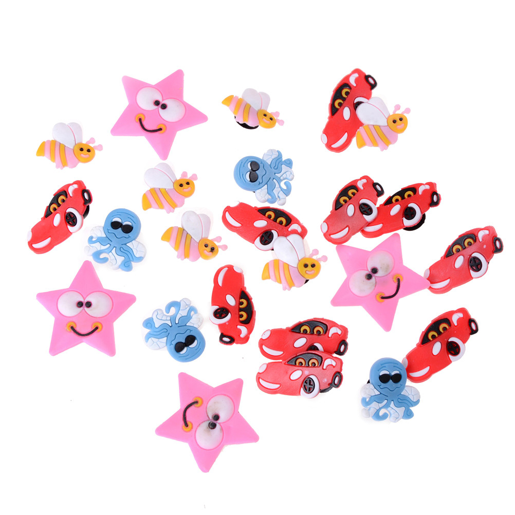 24pcs PVC Shoe Charms Shoe Buckle Accessories for Croc Decoration for Bracelet with hole Children Birthday Party Gift