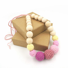 pastel color crochet beads pale yellow safety Baby and Mommy Beads Teething Necklace jewelry baby gift EN55
