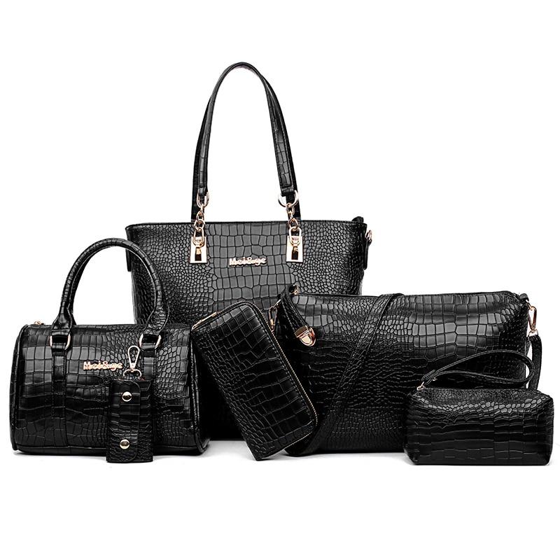 MIWIND 2017 New Fashion Women bag Alligator Leather Handbags Female Shoulder Bags 6-Piece Set Composite Bag Crossbody &amp; Clutch<br>