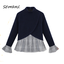 2018 Spring New Unique Design Plaid Patchwork Women Tops Fake Two Piece Ladies Pullover Fashion Butterfly Sleeve Brand Shirts(China)