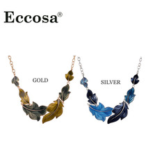 Eccosa European Painting Style Maple Leaf Choker Necklace Women Wearings Jewelry Gold And Silver Plated Fashion Decorations(China)