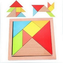 1 Set Wood Thicken Children's Educational Toys Colorful Tangram Jigsaw Puzzle Early Childhood Intelligence Puzzle Toy