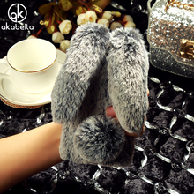 AKABEILA Fluffy Rabbit Fur Case For ZTE Blade X3 Blade D2 T620 ZTE A452 Q519T D2 T620 Fashion Diamond Cover Shell Back(China)