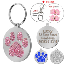 Paw Print Round Stainless Steel Pet ID Tags Dog and Cat ID Tags Personalized Custom Free Engraved And Hair Bows Gift(China)