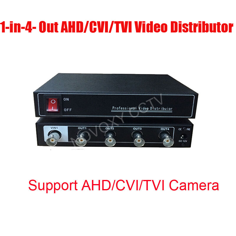 Free Shipping 1 In 4 Out AHD TVI CVI Video Distributor Amplifier 1CH To 4CH Splitter For CCTV Security Camera DVR System<br>