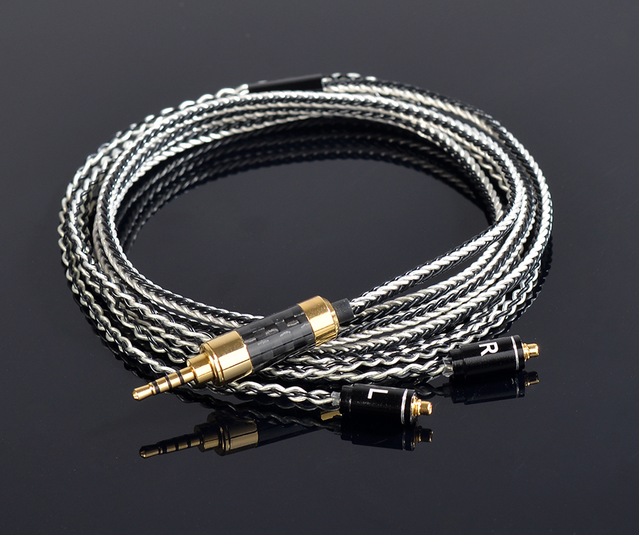 Hand Made DIY Updated 8 Cores 6N 2.5mm Balanced Copper Plated Silver MMCX Headset Line  Cable For SE525 SE535 SE846 UE900 LA DT2<br>