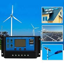 PWM 10/20/30A Solar Charge Controller 12V 24V LCD Display Dual USB Solar Panel Charge Regulator Solar Energy System