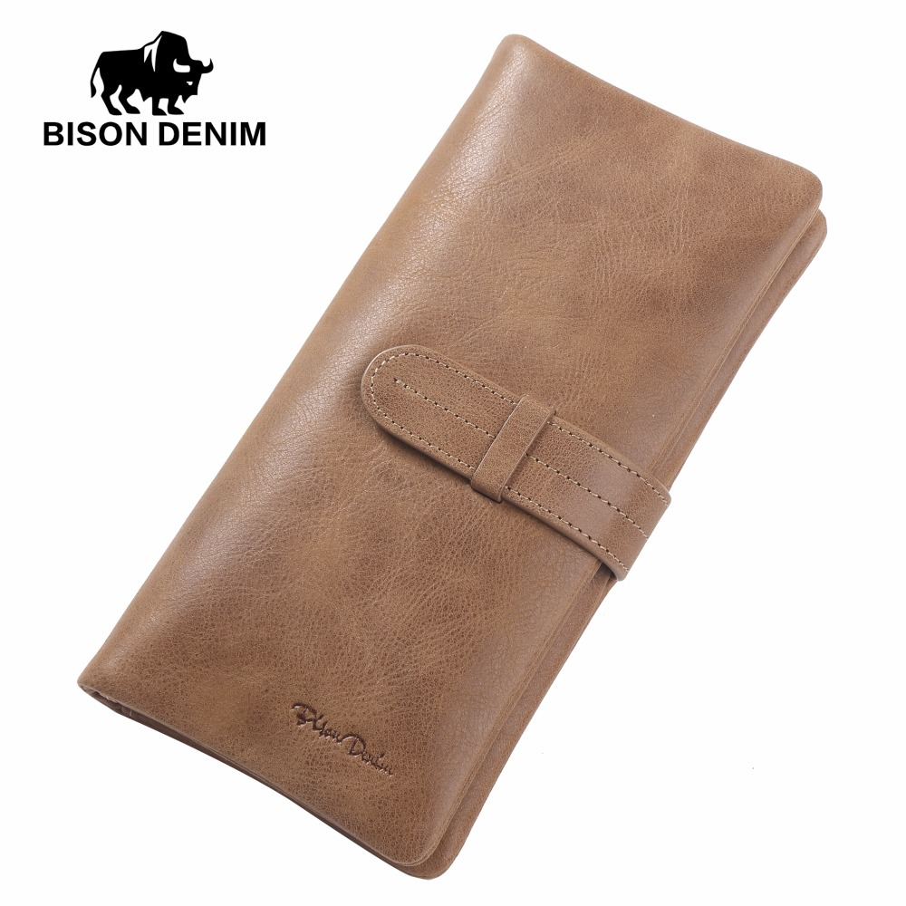BISON DENIM Genuine Leather Wallet Leather Clutch Bag Vintage Card Wallets Men&amp;Women Money Coin Purse Male Carteira Wallet W4401<br>