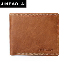 JINBAOLAI cow leather original brand male wallet fashion double suture design bifold wallets for men hight quality leather walet(China)