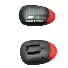 1Pcs Red Bicycle Solar Energy Safety Warning Rechargeable Bicycle Accessories Bike Red Tail Rear Light Flash Light