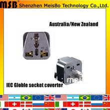 Convert 10A 125V ABS material uk eu New Zealand australia to us japan thailand plug adaptor for USA(China)