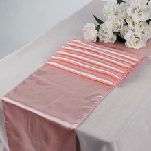 "New peach red Satin Table Runners (1pcs) 12"" x 108"" Wedding Party event Decoration,satin wedding party table decoration(China)"