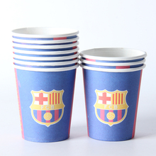 10pcs/lot Football Theme Paper Cup Drink Boy Girl Baby Happy Birthday Party Decoration Kids Supplies Favors(China)