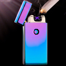2017 Male gift Creative lighters Arc Lighters metal USB Rechargeable Flameless Electric Arc Windproof Cigar Cigarette Lighter
