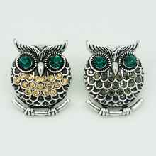 Hot sale PL0054 charm owl rhinestone metal DIY snap buttons fit charm snap button bracelets jewelry women gift