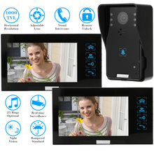 "KKmoon 7"" TFT Video Door Phone HD 1000TVL Home Intercom Doorbell Recording 1 Rainproof Doorbell Camera And 2 Hands Free Monitor"