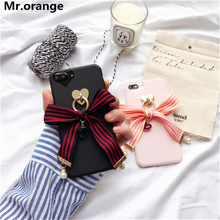 Mr.orange Lovely Bowknot Ribbon Tassel Gem Pearl Case For iphone 7 7 Plus Soft Tpu Phone Case for iphone 6 6s 6Plus Coque Fundas