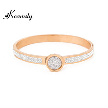 Keamsty Fashion Crystal Bangle Set Rose Gold with XS Coin Picante Stainless Steel 6.8cm Bangle Interchangeable Magnetic Coin(China)