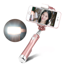Ulanzi Selfie Stick with Rear Mirror,led Light and Bluetooth Remote Shutter Monopod Fill Light for iPhone Samsung Android Phones