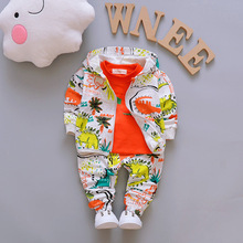 Fashion Girl Boy Clothes Printing Kids 3 Piece Suit Set Wild Baby Outfits Streetwear Children Clothing Infant Hooded Jacket(China)