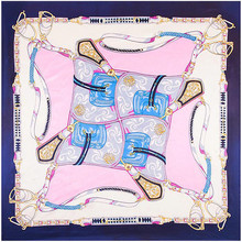 90x90cm Europe style Imitation Silk Scarf Women Saddle Belt Chainr Pattern Paint NeckerChief Bandana Square Muslim Headscarf(China)