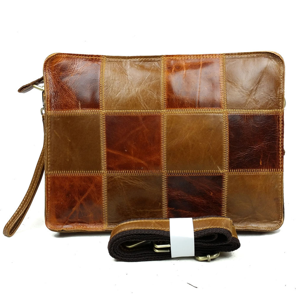 New Brand Trend Fashion Oil Wax Genuine Leather Patchwork Men Shoulder Bag Zipper Travel Messenger Sling Bags freeshipping<br><br>Aliexpress