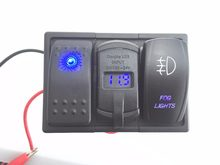 Blue Led Rocker Switch Panel DC 12-24V Dual USB Car Charger with Voltmeter Fog light Rocker Switch(China)