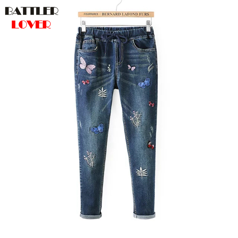 Elastic Women Jeans With Embroidery Boyfriend High Stretch Skinning Denim Pants Young Trousers straight jeans for Girls 2017