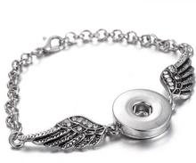 Buy Hot sale Fashion Rhinestone wings Snap bracelet 18CM necklace fit 18MM snap buttons snap jewelry wholesale SG0150 for $1.43 in AliExpress store
