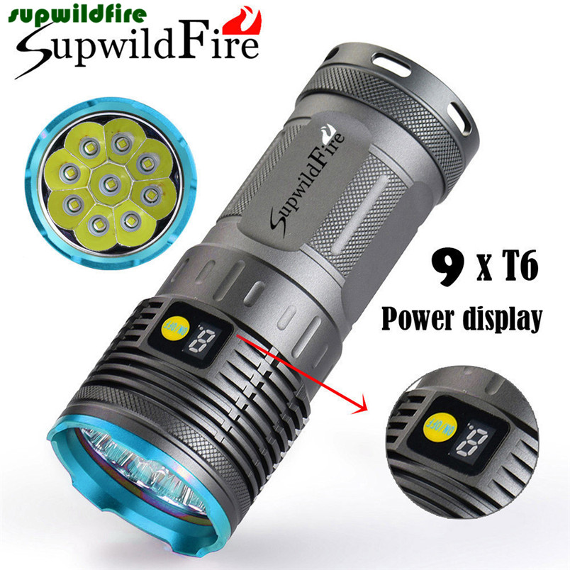 HOT!!! Supwildfire 25000LM 9 x XM-L T6 LED Power &amp; Mode Digital Display Hunting Flashlight Free Shipping #NO19<br>