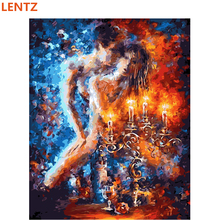 Naked photo 40x50cm unframed picture paint on canvas diy digital oil painting by numbers home decoration craft gifts nude lovers(China)