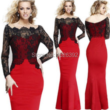 New Design Boat Neck Red Lace Long Sleeve Mermaid Evening Dress 2017 Sheer Fashion Vestidos Prom Party Gowns