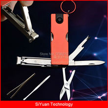Outdoor Multitool Manicure Tool 5 1 Nail Clippers Keyring Accessories Nail Clippers Nail File Nail Cleaner LED Flashlight