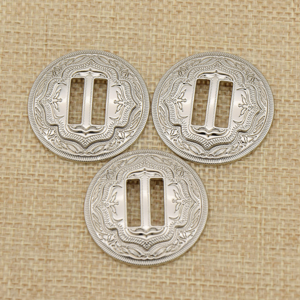 """5X Western Bling Sliver Craved Leathercraft Slotted Concho For Saddles 1-1//4/"""""""