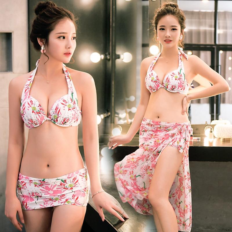 NIUMO New Bikini set sexy Gather Bikini three-piece suit Cover ups Swimwear woman<br>