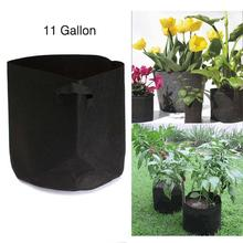 Black Fabric Pot Green Plant Vegetable Pouch Root Containers Round Aeration Pot Container Grow Bag For Plant Tool 11 Gallon PML