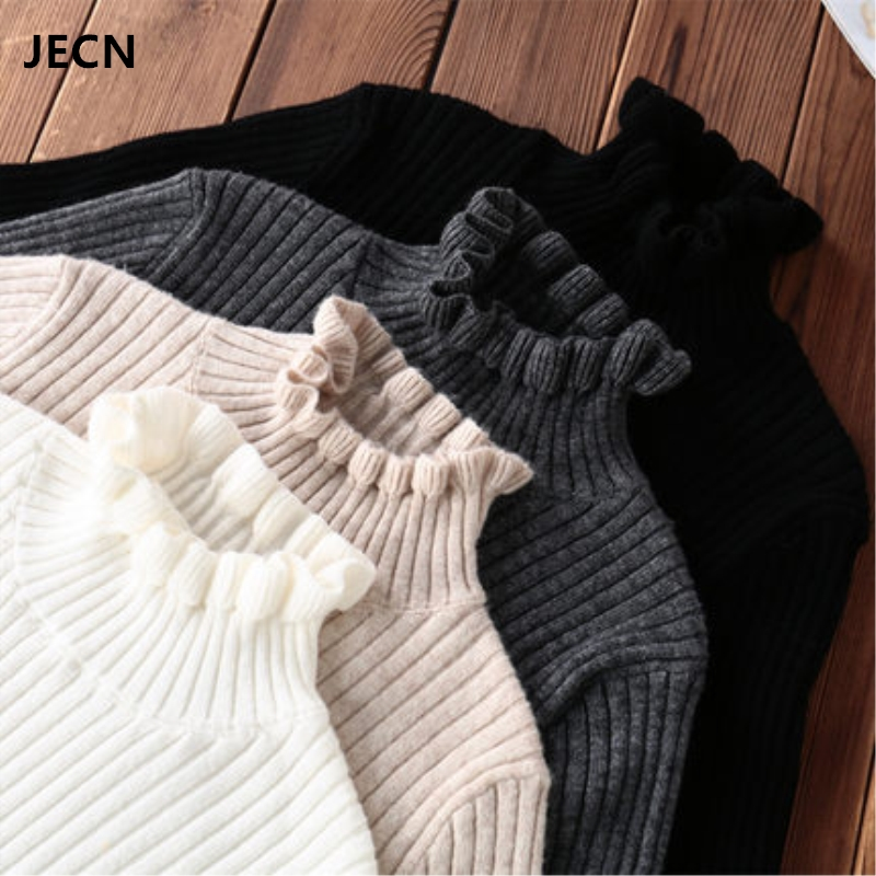 JECN Spring Winter Cashmere Wool Sweater Pullovers Fashion Sexy Solid Slim Stretchy Ruffled Collar Women Computer Knitted Jumper