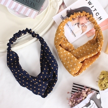 2017 New Fashion Black Yellow Dot block Chiffon Headband Retro Girl Women Hairband Turban Head Wrap Hair Band Accessories