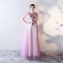 Sexy Long Evening Dresses 2017 New Women O-Neck Wedding Events Evening Party Dress Lilac Lace Appliques A-Line Formal Prom Gowns